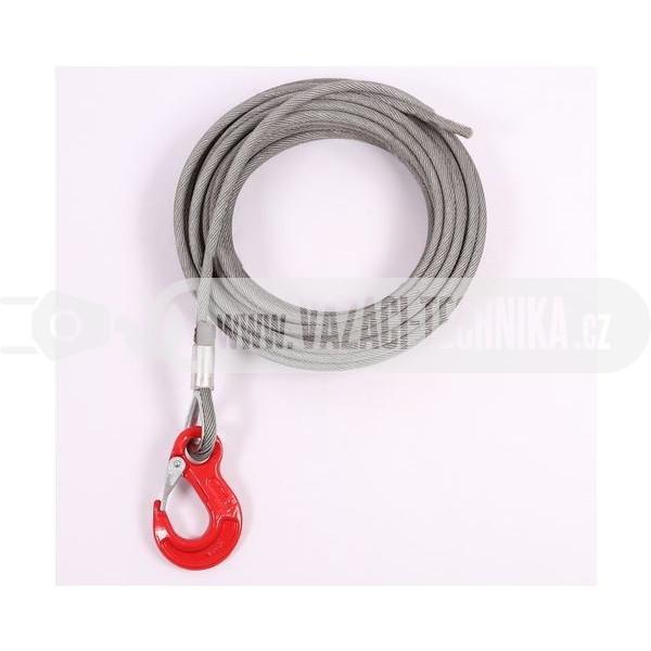 obrázek Navijákové lano HERKULES pr.8 mm s hákem 6,8 m