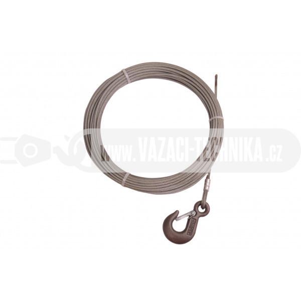 obrázek Navijákové lano STANDARD pr.4 mm s hákem 9,5 m