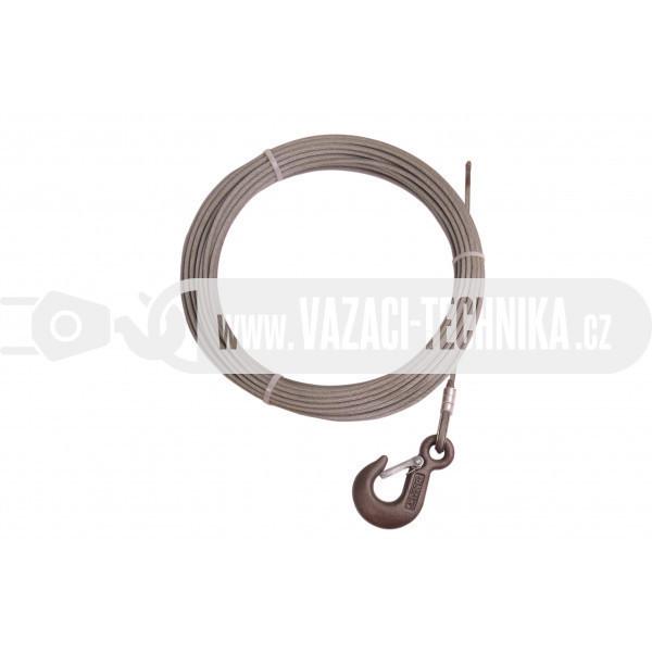 obrázek Navijákové lano STANDARD pr.4 mm s hákem 13,5 m