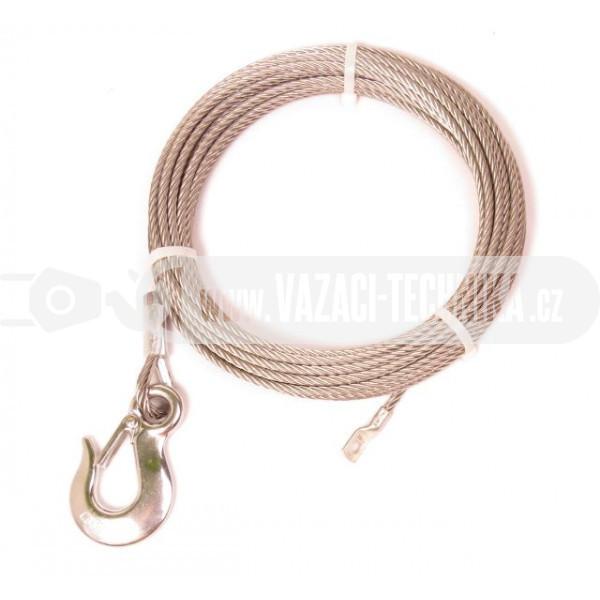 obrázek Nerezové navijákové lano pr.6 mm s hákem 15 m
