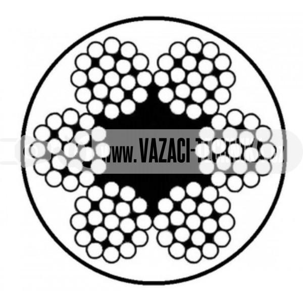 obrázok OCEĽOVÉ LANO ŠTANDARD 6x19 s PVC – TRANSPARENTNÉ