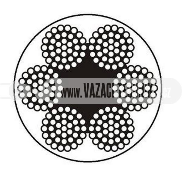 obrázok OCEĽOVÉ LANO ŠTANDARD 6x37 s PVC – TRANSPARENTNÉ