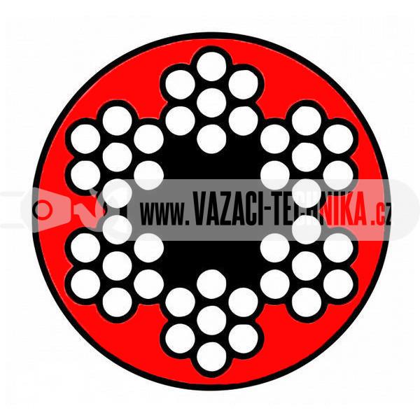 obrázek Ocelové lano STANDARD 6x7 s PVC- červené