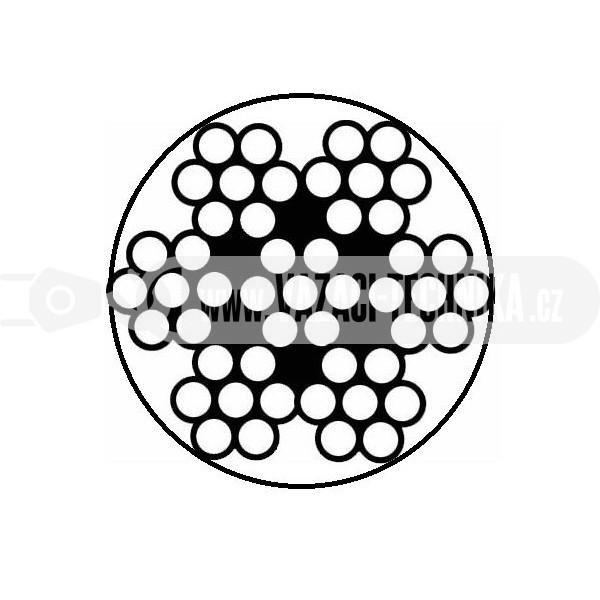 obrázek Nerezové lano 7x7 s PVC- transparentní